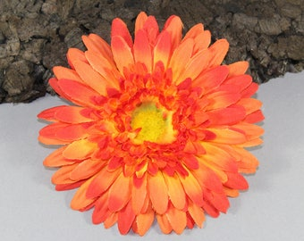 Vintage inspired rockabilly hair flower/Hairflower orange Gerbera