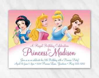 Disney Princess Invitation for Birthday Party - Snow White, Aurora Sleeping Beauty, Cinderella, Belle - Printable Digital File