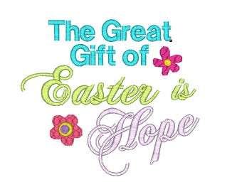 Hope embroidery etsy easter quote machine embroidery design the great gift of easter is hope embroidery design negle Image collections