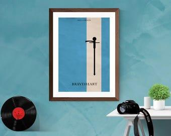 Braveheart Minimalist Movie Film Mel Gibson Poster Matt / Silk