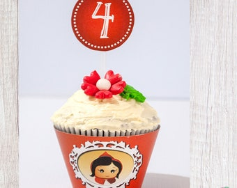 Red Riding Hood Party Cupcake Toppers,