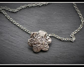 Silver Flower Pendant or Hijab Pin - Silver Precious Metal Clay (PMC), Handmade, Necklace, Hijab Pin - (Product Code: ACM086-17)