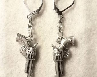 Pistol Gun Charms and Dangly Chains earrings - Gift for Her