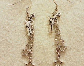 Pistol Gun Charm with Stars and Chains Earrings - Bullet Jewelry - Gifts For Her