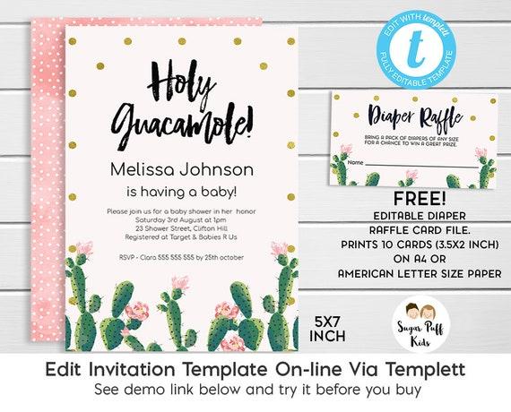 Cactus Baby Shower Invitation Fiesta Themed