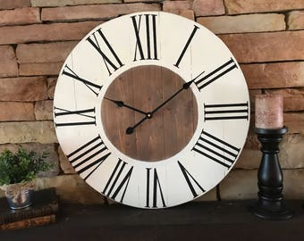 "24"" Farmhouse Clock, Natural Wood Clock, Rustic Wall Clock, Large Wall Clock, Oversized Wall Clock,"