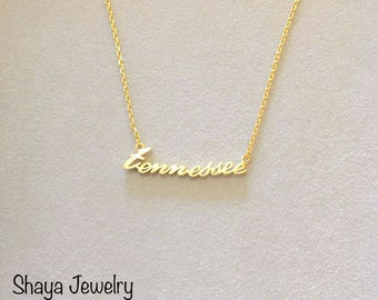 """Tennessee Necklace 19"""" Gold Plated"""
