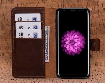 Leather A8 Case, Galaxy A8 Wallet Case, Samsung Galaxy A8 Case, A8 Case Wallet, Leather A8 Wallet, Samsung Galaxy A8 Wallet Case - BROWN