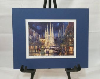 Barcelona Ready-To-Frame Matted Watercolor Print