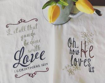 Embroidered Christian Tea Towel, Dish Towel, Kitchen Towel, Flour Sack