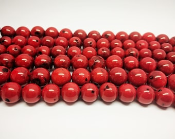 Red Beads Coral Beads 8mm Red Coral Beads 10mm Coral Beads 12mm Red Coral Beads Sponge Coral Beads Red Coral Beads for Jewelry Mala Beads