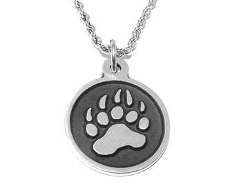 Round Bear Paw Print Pendant Necklace with Chain