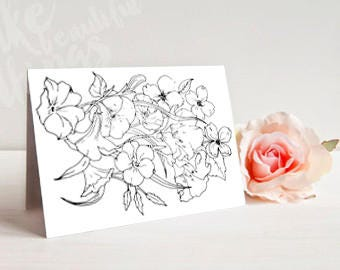 Printable folding cards,Printable coloring card,Coloring cards,Coloring pages,Botanical cards,Thank you coloring,Coloring page