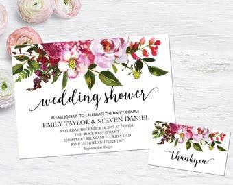 Wedding shower invitation, Printable Wedding Shower Invitation, Couples Shower Invite, flower wedding shower invitation instant download, B5