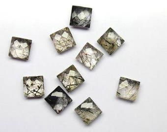 10Pcs 50Cts. 100% Natural Gemstone Black Rutile Quartz Briolette Cut 10mm Square Shape Jewelry Making Handmade Gemstone