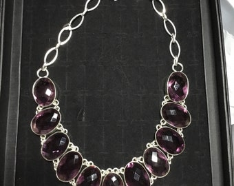 Sterling Silver and Purple Amethyst Necklace