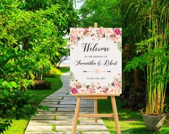 Wedding Welcome Sign Peach Pink Blush Burgundy Floral Peonies Boho Digital Wedding Sign Bohemian Bridal Wedding Welcome Poster WS-022