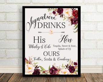 Signature drinks Sign Peach Pink Blush Floral Peonies Boho Digital Wedding Sign Bohemian Wedding Poster WS-024