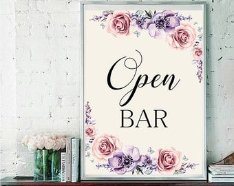 Open bar Wedding Sign Digital Floral Lilac Violet Purple Wedding Boho Printable Bridal Decor Gifts Poster Sign 5x7 and 8x10 - WS-033