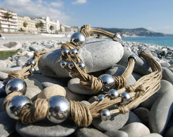 Raw linen threads necklace - Silver tone beads necklace - Multistrand necklace