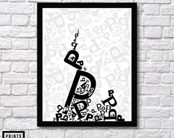 Letter P Art, Alphabet Wall Art, Alphabet Letter, Black  Letter, White Letter, Letter Decor, Typography Wall Art, Alphabet Print, Tower Art