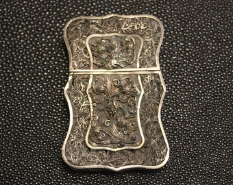 Antique Chinese Sterling Silver Filigree Card Case