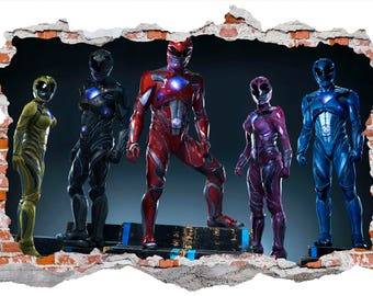 Power Rangers Smashed Wall Sticker, Wall Decals Part 73