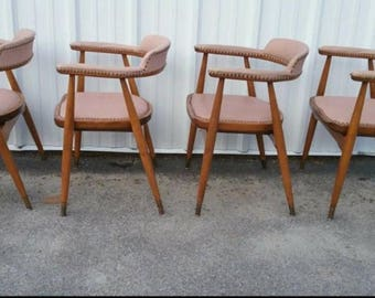 Five Mid Century Modern Dining Lounge Arm Chairs Pink Upholstery!