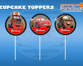Cars cupcake topper, Mc Queen cupcake topper, set of 12