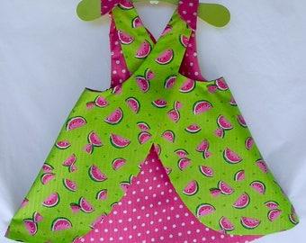 Watermelon dress, Baby girl dress, Summer dress set,  Watermelon dress set, polka dot dress, sun dress, little girl dress, baby pinafore