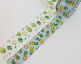Funky Fruit Washi Tape - 2 Designs - Pineapple + Lime