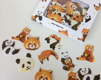 Panda Stickers - Red Panda Stickers - Planner Stickers - Letter Seals - Sticker Flakes