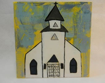 6x6 White Church Painting