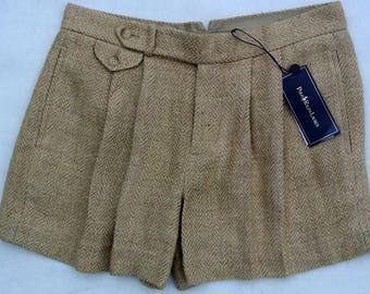 Vintage Ralph Lauren Herringbone Tan Linen and Silk Shorts