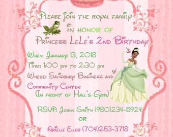 Princess Tiana Birthday Invitaions