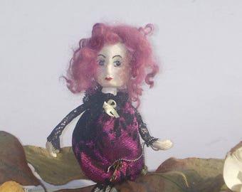 SALE - OOAK Art Doll Brooch Vanessa