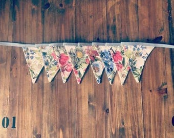 Fabric bunting made from colourful floral botanical print. great for parties, garden, balcony, bedroom, wedding, home decor