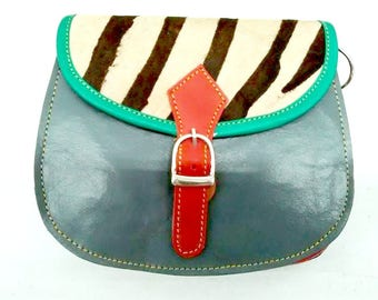 Emily: Upcycled High Quality Hand-made Leather Colourful Shoulder Bag with Animal Print