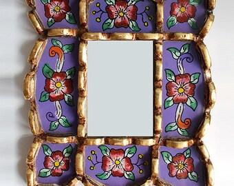 Portrait Mirror - Peruvian Reverse Glass Painted
