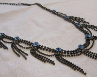 Chandelier style art deco inspired almost choker or girl's necklace blue jewels