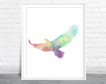 Eagle wall art, Bird Watercolor, Aviary art, Birds Flocking