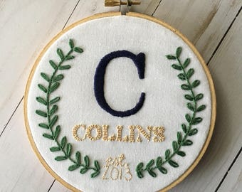 Laurel wreath last name and wedding date hand embroidered hoop