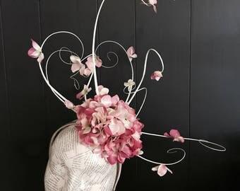 Cream & Pink floral fascinator  BLOSSOM