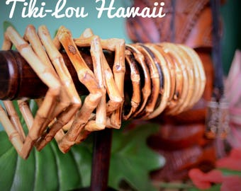 Any 3 bamboo bangles tiki style square or round