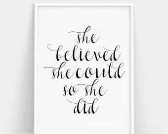 She Believed She Could So She Did Print, Motivational Wall Art, Quote Print, Minimalist Wall Art, Typography Poster, Inspirational Quotes