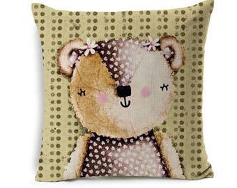 Kids Cartoon Animal Cushion Cover Girl Bear Throw Pillow Case