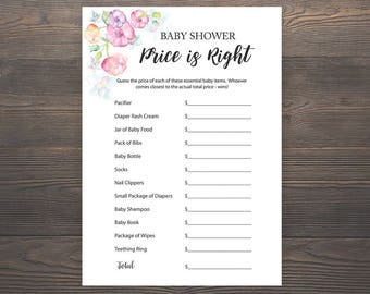 Price is right, Baby Shower Games, Guess the Price, Printable Baby Shower Games, Girl Baby Shower, Pink Baby Shower, Price Game Cards, S015