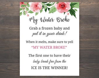 My Water Broke, Baby Shower Games, My Water Broke Game Printable, Girl Baby