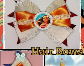 """Moana Inspired hair Bow. Cute and great finish. French Barrette Clip 2"""", Girls, Unique. Cap Bottle Design. Size 5""""X3"""" aprox. 2 Colors aval."""
