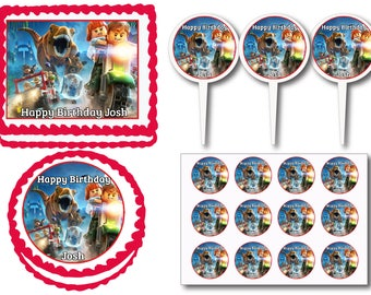 Jurassic World Park Birthday Party Edible Cake Cookie Toppers or Plastic Cupcake Pick Stickers Decoration Baking Supply
